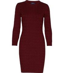 stretch cotton cable dress kort klänning röd gant
