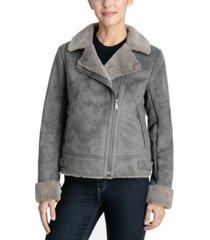 bcbgeneration faux-suede asymmetrical moto coat