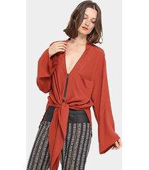 blusa open amarração decote v manga ampla feminina