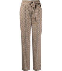 dvf diane von furstenberg tie-waist wide-leg trousers - brown