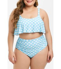 overlay flounces polka dot high waisted ruched plus size tankini swimsuit