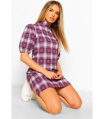 flannel high neck printed shift dress, lilac