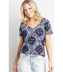 maurices womens 24/7 navy floral drop shoulder classic tee blue