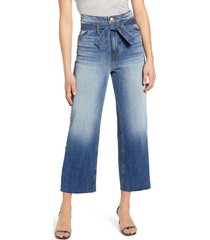 women's sts blue belted high waist wide leg crop jeans, size 31 - blue