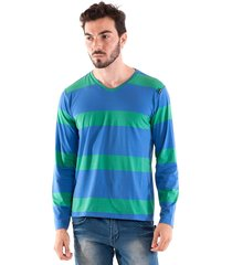 camiseta konciny decote v azul/verde