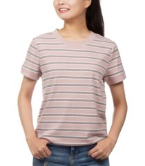hippie rose juniors' ribbed-knit striped ringer t-shirt