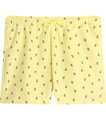 pantaloneta playa mini palmeras color amarillo, talla l