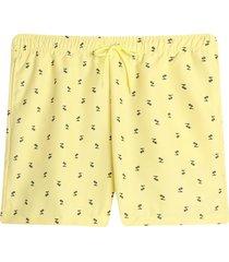 bermuda para hombre playa mini palmeras color amarillo, talla l