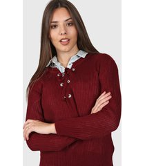 sweater bordo moni tricot hojalillos