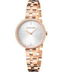 calvin klein women's elegant rose gold-tone pvd stainless steel bracelet watch 32mm