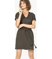 lilla p belted double v-neck dress