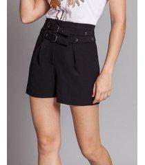 shorts cintura alta cinto duplo preto reativo - lez a lez