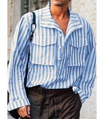 incerun hombres bolsillos dobles con rayas verticales de manga larga camisa