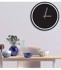 relógio de parede decorativo premium minimalista preto ônix com borda branca em relevo médio