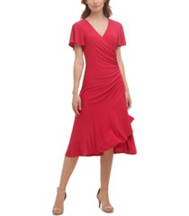 kensie flutter-sleeve midi dress