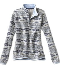 printed outdoor quilted snap sweatshirt, x large
