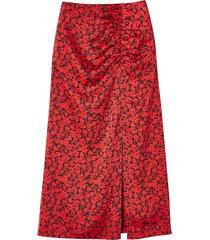 lång, blommig kjol med nära passform