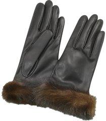 forzieri designer women's gloves, women's black italian nappa leather & mink gloves