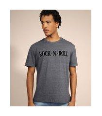 "camiseta masculina rock"" manga curta gola careca cinza"""