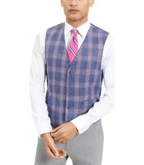 tommy hilfiger men's modern-fit th flex blue and red plaid windowpane vest