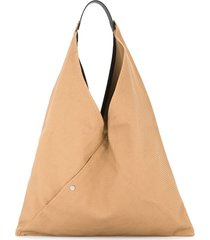 cabas triangle shaped tote - brown
