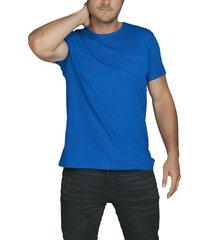 camiseta azul luck & load cuello redondo con bolsillo