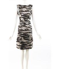 lanvin animal print black silk knee length sheath dress black/multicolor/animal print sz: m