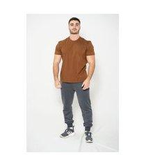 camiseta 100% algodão kruger's concept promo marrom
