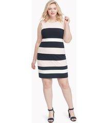 tommy hilfiger women's curve stripe sleeveless dress ballerina pink - 14w