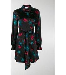 ganni floral print wrap shirt dress