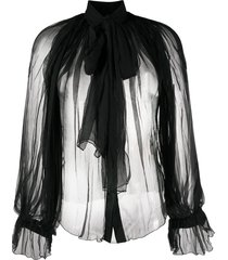 atu body couture pussy-bow tulle blouse - black