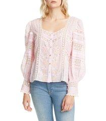 women's loveshackfancy lorette button front blouse, size small - pink