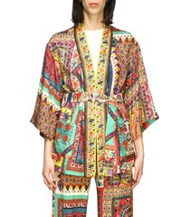 etro jacket etro silk cardigan with patchwork print and belt