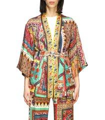 etro jacket etro silk cardigan with patchwork print and belt