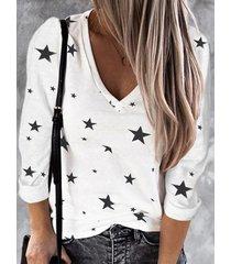 camicetta casual da donna con scollo a v manica lunga stampa stelle