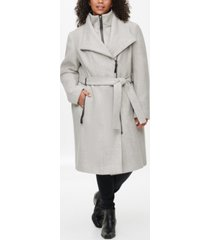 calvin klein plus size faux-leather-trim belted coat, created for macy's