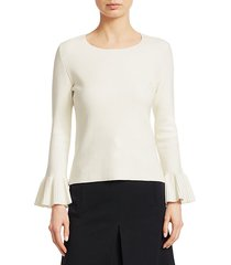 flounce-sleeve knit pullover sweater