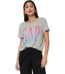 camiseta gris-multicolor gap