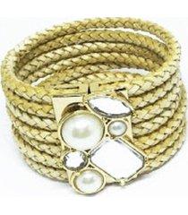 bracelete couro alice monteiro trançado pérola nude.