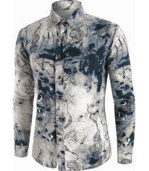 abstract landscape paint pattern vintage long sleeve shirt