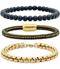 3-piece 18k gold-plated stainless steel, black lava & leather bracelet set