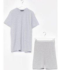 womens sofa surfin' oversized tee and shorts set - grey marl