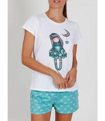 pyjama's / nachthemden admas pyjama kort t-shirt into the ocean santoro witte