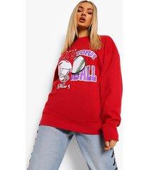 oversized gesplitste varsity sweater, red