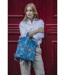 plecak / torba 2 w 1 niebieskie wzory z weluru