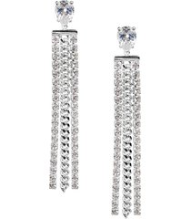 cubic zirconia chain fringe earrings
