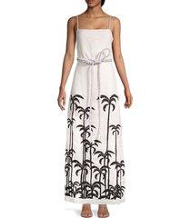 johanna ortiz women's salonniere embroidered maxi dress - ecru black - size 4