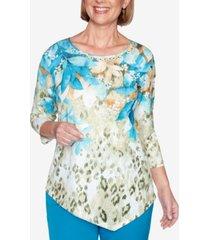 alfred dunner women's colorado springs animal print floral yoke top
