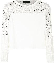 andrea bogosian rana panelled cotton sweatshirt - neutrals