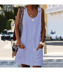 zanzea partido de las mujeres vestido de tirantes sin mangas de la túnica casual club de playa vestido de la raya -azul